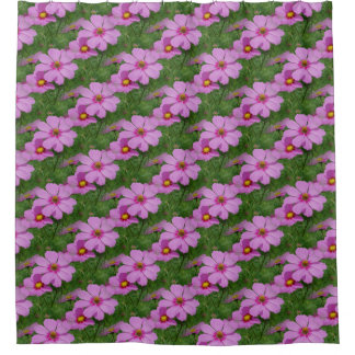 Pink Cosmos Flower Nature Pattern Shower Curtain