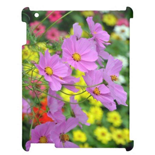 Pink cosmos flower print ipad case
