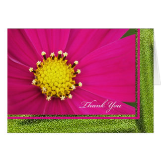 Pink Cosmos Flower Thank You Card -- Blank