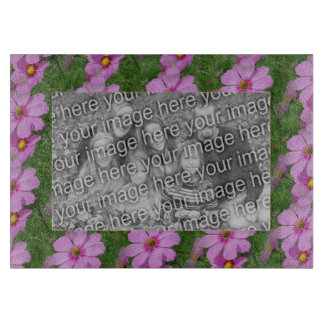 Pink Cosmos Flowers Border Your Photo Cutting Boards