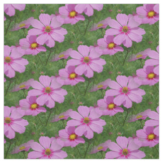 Pink Cosmos Flowers Nature Floral Pattern Fabric