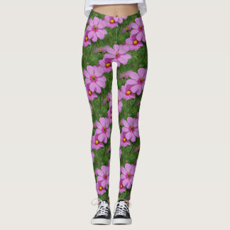 Pink Cosmos Flowers Nature Pattern Leggings