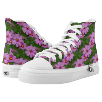 Pink Cosmos Flowers Nature Pattern Printed Shoes