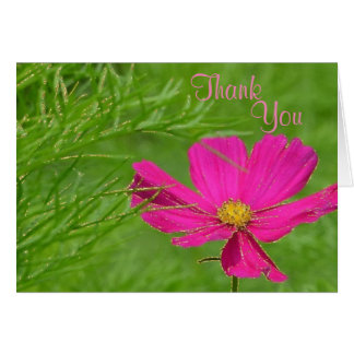 Pink Cosmos Glitter Thank You Card
