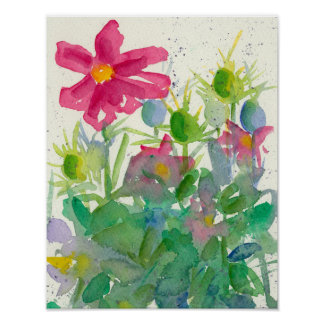 Pink Cosmos Nigella Watercolor Flower Painting Poster
