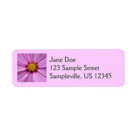 Pink Cosmos Pretty Wildflower Photography Return Address Label