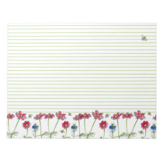 Pink Cosmos Watercolor Flowers Honey Bees Lined Notepad