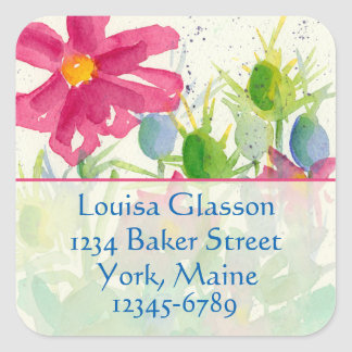 Pink Cosmos Watercolor Wildflowers Return Address Square Sticker