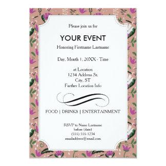 Pink Cottage Folk Floral 13 Cm X 18 Cm Invitation Card