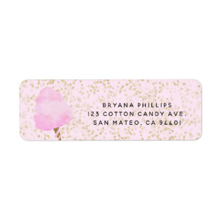 Pink Cotton Candy & Gold Confetti Birthday Party Return Address Label