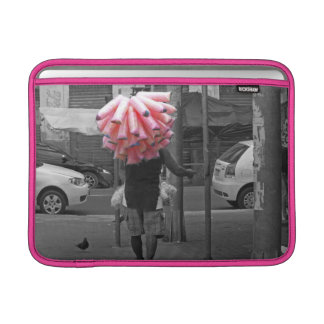 Pink cotton candy man MacBook sleeve