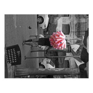 Pink cotton candy man postcard