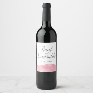 Pink Cotton Candy Watercolor Wedding Wine Label