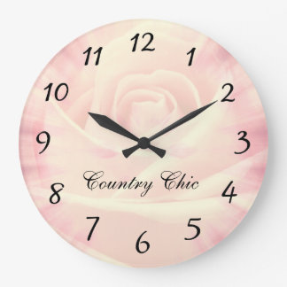 Pink Country chic design Large Clock