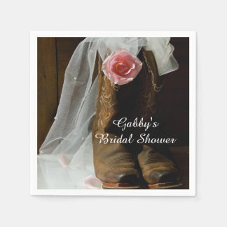 Pink Country Rose and Cowboy Boots Bridal Shower Disposable Serviette