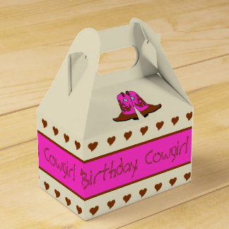 Pink Country Western Cowgirl Boots Party Gift Box