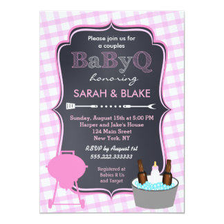 Pink Couples Baby Shower BBQ BabyQ Invitations