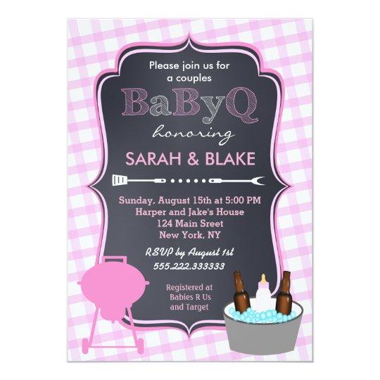 Pink Couples Baby Shower BBQ BabyQ Invitations