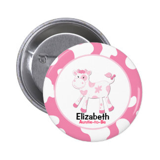 Pink Cow Customized name tag Button