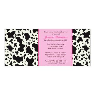 Pink Cow Print Bridal Shower 10 Cm X 24 Cm Invitation Card