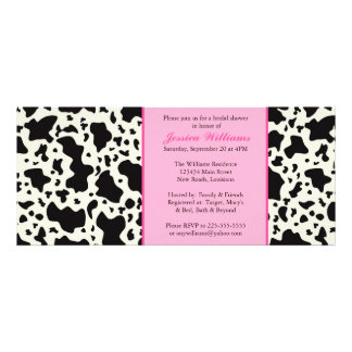 Pink Cow Print Bridal Shower Personalized Announcement