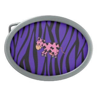 Pink cow purple zebra stripes belt buckles