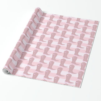 Pink Cowboy boots on Striped Pattern Background Wrapping Paper