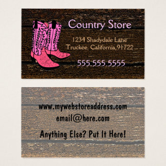 Pink Cowboy Boots Western Theme Business Card