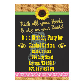 "Pink Cowgirl Birthday Party Invitation 5"" X 7"" Invitation Card"