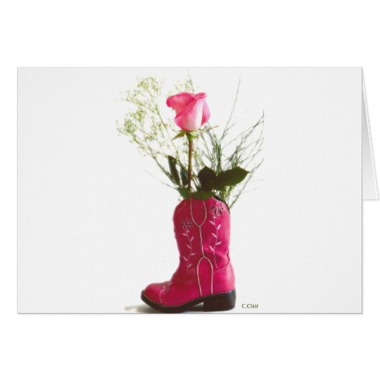Pink Cowgirl Boot Western Rose Notecard Postcard