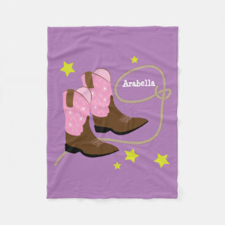 Pink Cowgirl Boots & Rope, Personalized Fleece Blanket