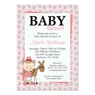 Pink Cowgirl Horseshoes Baby Shower Invitations