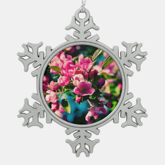 Pink Crab Apple Flowers Snowflake Pewter Christmas Ornament