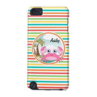 Pink Crab Bright Rainbow Stripes iPod Touch (5th Generation) Cover