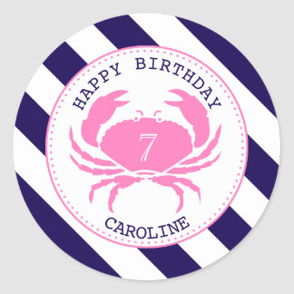 Pink Crab Nautical Birthday Party Invitation Classic Round Sticker
