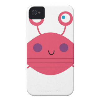 Pink Crab on white iPhone 4 Case