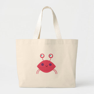 Pink Crab on white Large Tote Bag
