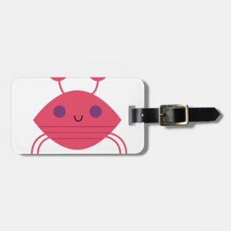 Pink Crab on white Luggage Tag