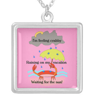 Pink Crabby Day Haiku Necklace