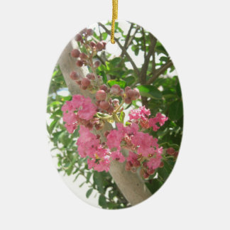 Pink Crape Myrtle 1 Ceramic Ornament