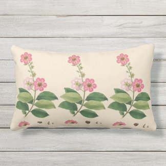 Pink Crape Myrtle Outdoor Lumbar Throw Pillow