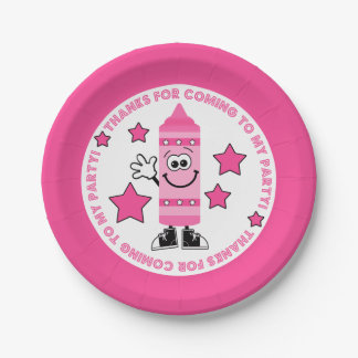 Pink Crayon Birthday Party Paper Plate