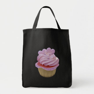 Pink cream and hearts cupcake canvas bag