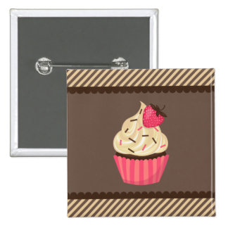 Pink Cream Brown Stripes Strawberry Cupcake Buttons