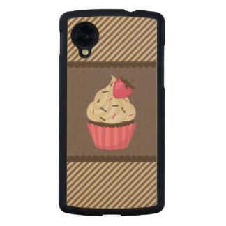 Pink Cream Brown Stripes Strawberry Cupcake Carved® Maple Nexus 5 Case