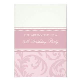 "Pink Cream Floral 70th Birthday Party Invitations 5"" X 7"" Invitation Card"