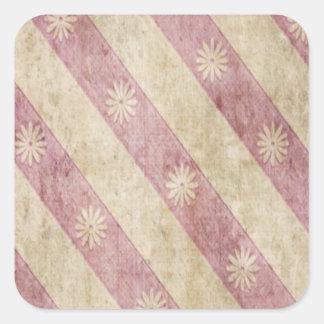 Pink Cream Floral Stripe Grunge Sticker