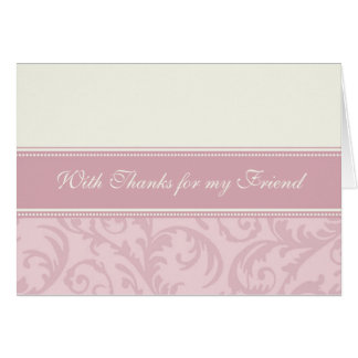 Pink Cream Friend Thank You Matron of Honor Card