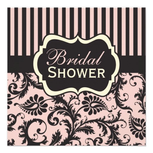 Pink, Cream, Gray Damask Bridal Shower Invitation
