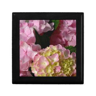 pink  cream hydrangeas small square gift box